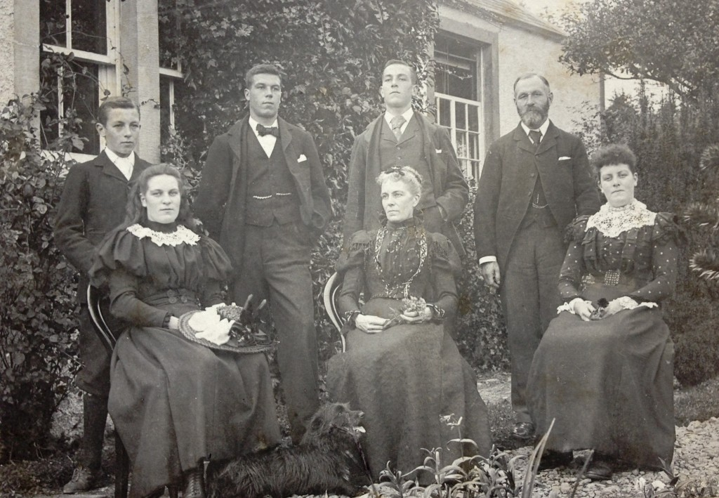 Wilson Family c1897/1898 Back row: George, James (Jim), Thomas, Thomas (father) Front row: Christina (Chrissie), Mary (Mother), Margaret